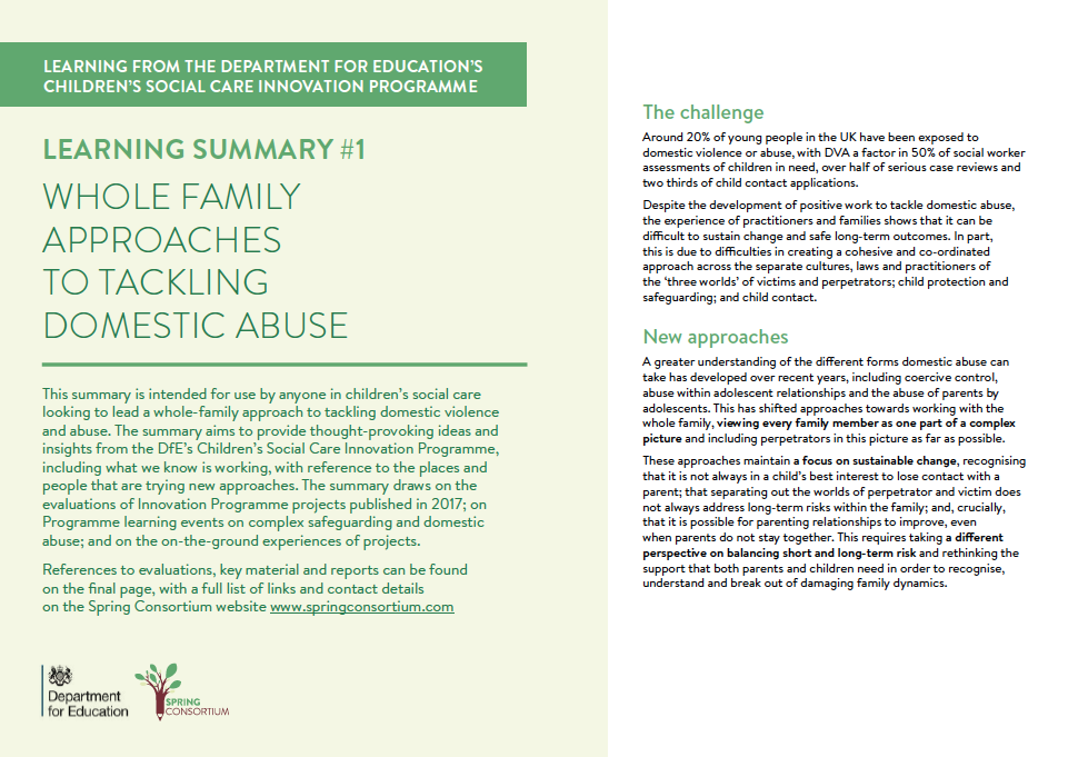 quick guide DfE quick guide WHOLE FAMILY APPROACHES TO TACKLING DOMESTIC ABUSE