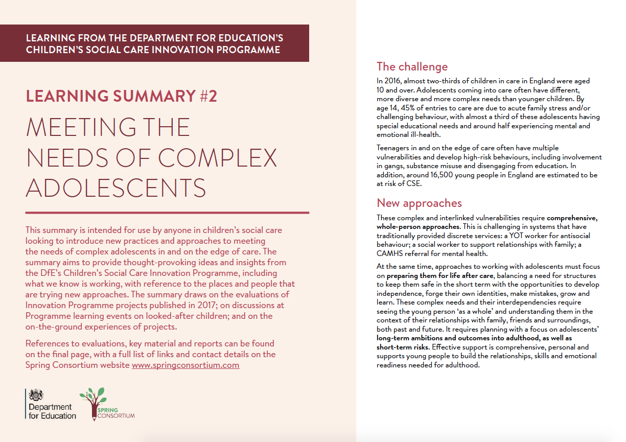 DfE LEARNING SUMMARY #2 MEETING THE NEEDS OF COMPLEX ADOLESCENTS