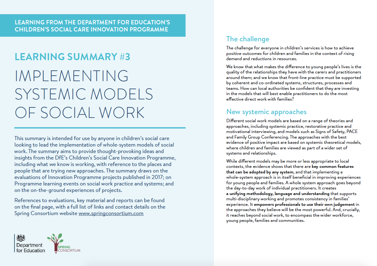 CHILDREN'S SOCIAL CARE INNOVATION PROGRAMME IMPLEMENTING SYSTEMIC MODELS OF SOCIAL WORK