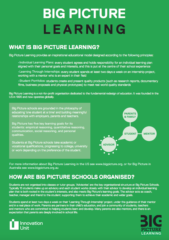 BIG PICTURE LEARNING BROCHURE