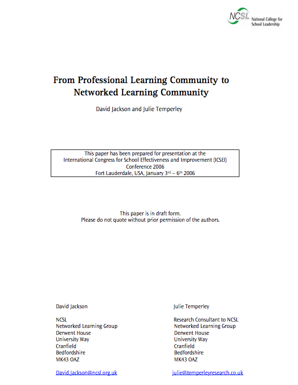 from professional learning community to networked learning community